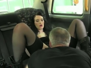 Horny consumer fucked by pervert driver in the backseat