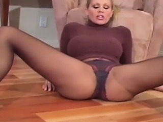 Caramel chick in pantyhose