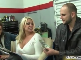 Gorgeous blonde shows tits for some cold hard cash
