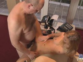 Blonde Teen taking care of Old Man