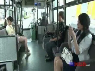 wife hard threesome fucked by driver on bus 01