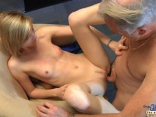 Sweet Blonde Teen & Old Man