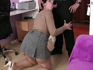 Blowjob Chubby Clothed European German  Stockings