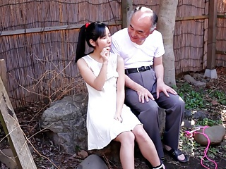 Japanese Teen with Old Man and Many Suppliant Bukkake