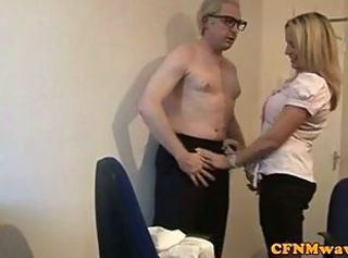 CFNM femdom blonde jerks off aged dude