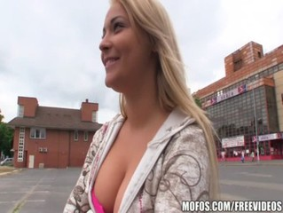 Czech blonde with a great pair be required of tits is paid for some POV doggy