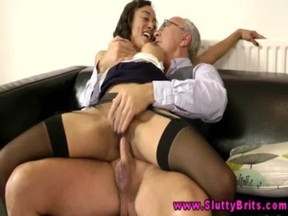 Young brunette gets pussyfucked by old man