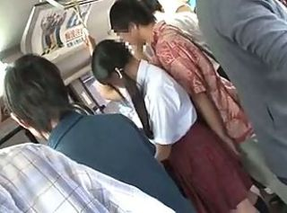 Young jap schoolgirl is seduced by daddy yon bus