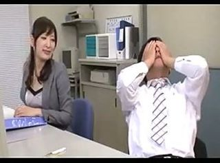 Fuck with blue colleague woman plus office