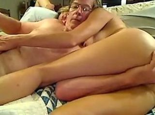 Older couple fuck in bed, facesitting and toys