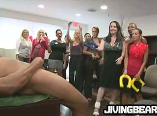 Horny MILFs at an office party suck a black cock