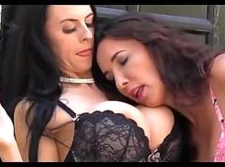 Three lesbian babes smoking and horny in fully fashioned nylon stoc...