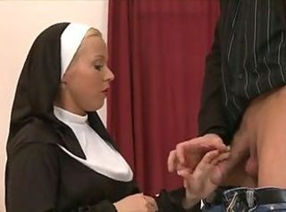 Blonde nun fucked encircling the ass