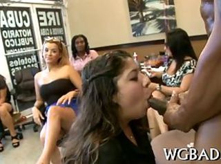 Black stud bangs party chicks after stripping