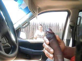 Showing off wanking - Black woman is watching