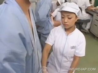 Asian nurse shows handjob skills free
