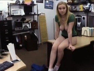 Big tits amateur babe fucked at the pawnshop for a necklace