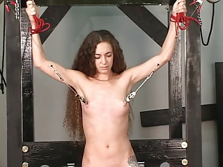 Resulting gets collar bound to table master gives nipple torture with clamps