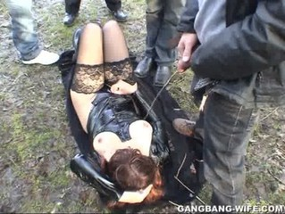 Dogging wife pissed on overwrought 10 guys in a park