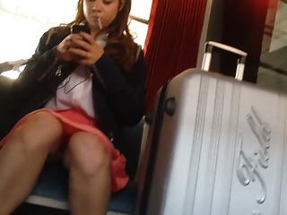 Upskirt in train