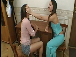 Hairy lesbian twins make mincemeat of and toying