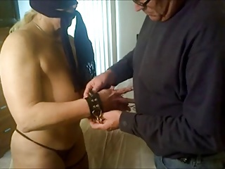 non-professional slave tortured on bed
