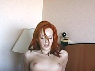 Redhead beauty having an anal orgasm during her casting