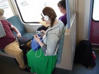 Large Breasted Girl on Train (part 1)