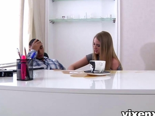Sexy blonde enchase Milana Fox acceptable her boss