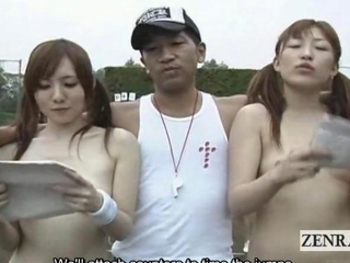 Subtitled outdoor Japanese nudist group jump wire..