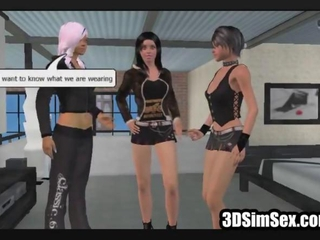 3D girls having first lesbian experience