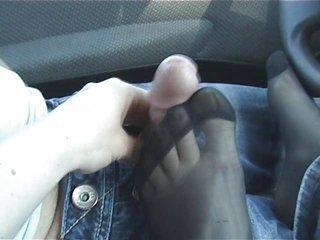 A Footjob In Nylons In The Car Sex Tubes