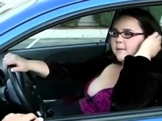 Amateur  Car Glasses Public Teen