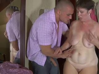 Mom with flabby body, saggy tits & muscled guy Sex Tubes