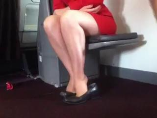 Candid Aerate Stewardess Nylon Legs Feet and Shoeplay Sex Tubes