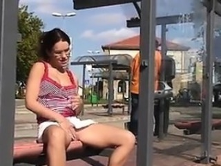 Cute Girl Flashing Her Pussy In Public