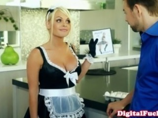 Blonde french maid drooling on his hard cock and cant get enough