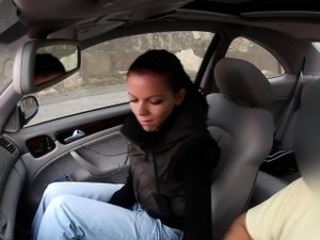 Czech babe wanks in fake taxi in public