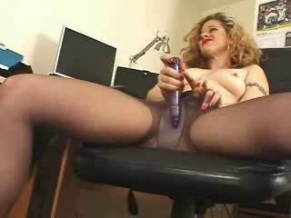 Horny secretary black pantyhose high heels solo Sex Tubes