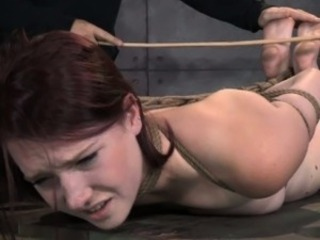 Tied up bdsm suitor Ashley Lane caned
