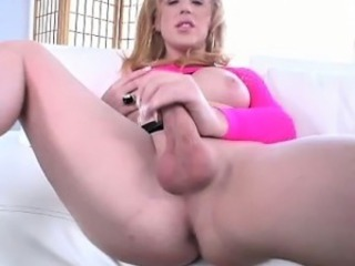 Horny blonde amateur shemale jerking off
