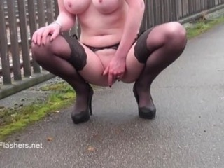 Exhibitionist housewifes public flashing of Cute touching voyeur red head...