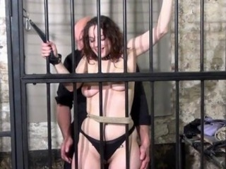 Babe prisoner whipping and harsh roped punishments of Tenderfoot masochism...