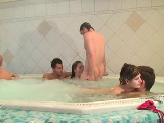 Russian students in the pool