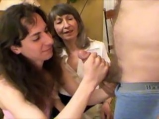 Doyenne young lady introduces Sissy to her first hard cock to suck on