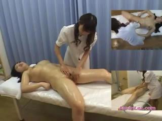 Busty Asian Girl Massaged Getting Her Pussy Rubbed By The Masseuse On The Massage Bed