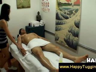 Asian masseuse finds a tensed muscle