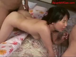 "Milf Sucking Cocks Getting Her Pussy And Mouth Fucked By 2 Guys In Mask On The Mattress In The Room by sotegune"" class=""th-mov"