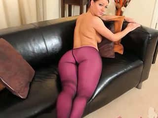 Purple Nylon Pantyhose On Amazing Babe