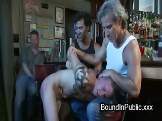 Bound Gay Taken In Bar Where Gets Fuck By Total Strangers